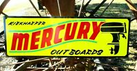 Large Vintage Hand Lettered MERCURY OUTBOARD MOTOR Boat Gas Man Cave Fish SIGN Y