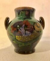"""GOUDA POTTERY BEAUTIFUL 3.5"""" DOUBLE HANDLED VASE EXCELLENT SIGNED"""