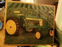 Vintage John Deere 520 Tractor Wall Clock Hand Crafted Wood 18