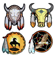 Set Of Native American Steer Eagle Indian Dream Catcher Embroidered Patches
