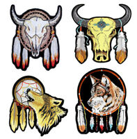 Set Of Native American Steer Buffalo Wolves Dream Catcher Embroidered Patches