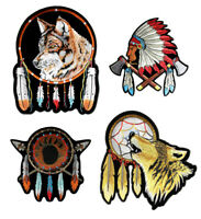 Set Of Native American Wolves Bear Paw Chief Dream Catcher Embroidered Patches