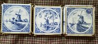 3 Holland Delft Blue Windmill Tiles Trivets Hand Painted Royal Mosa Holland FS