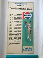Timberlake Christian School Forest VA 1980 1981 Basketball Pepsi Poster Schedule