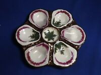 Antique Continental Hand Painted 6 Well Oyster Plate 9