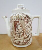 Antique Staffordshire brown transfer ware teapot - Little Mae w dog