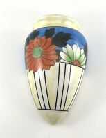 Yellow Lustre Floral HAND PAINTED Japan Wall Pocket Hotta Yu 20s 40s