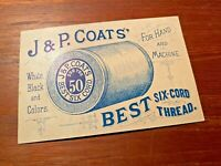 J amp; P Coats 1890s Six Cord Spool Thread Sewing Trade Card Lil Girl amp; Cat