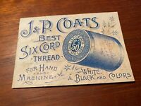 J amp; P Coats 1890s Six Cord Spool Thread Sewing Trade Card Mother amp; Daughter