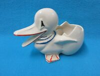 MCCOY DUCK PLANTER WITH RED AND BLUE PAINT