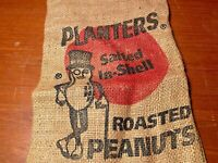 1950s Planters Salted In-Shell Peanuts 1 Lb 8 Oz Burlap Sack Bag