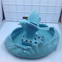 Vintage Camark Art Pottery 143 low bowl and 898 flower frog bird turquoise
