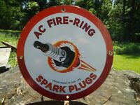 NICE OLD VINTAGE DATED 1953 AC FIRE - RING SPARK PLUGS PORCELAIN ADVERTISE SIGN