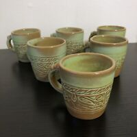 Frankoma Green Aztec Mugs Set Of 6 Cups Pottery Mayan Southwest Western 7c