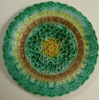 Vintage Embossed Filigree Green, Yellow & Brown Majolica Scallop. 5.75