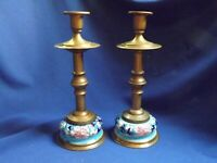 "Pr LONGWY French Pottery & Brass 10"" Candlesticks Candle Holders No Prisms"