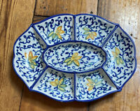 Signed  CER. GIOVANNI VIETRI Italy Ceramic Pottery Large Sectioned Dish