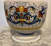 Deruta Pottery Rocco Hand painted Compote Pedestal Bowl Floral Made in Italy