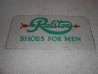 OLD THICK GLASS SIGN ETCHED & PAINTED RALSTON SHOES FOR MEN ADVERTISING DISPLAY