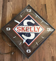 Skelly Oil Gas Station Garage Man Cave Wall Clock Sign Original Pam Old Antique