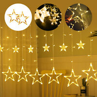US Star Lights String 12 Stars 138 LEDs Window Curtain LED Strip DIY Party Decor