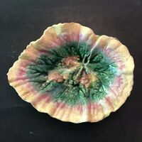 Antique Etruscan Majolica Begonia Leaf Plate Dish Griffin Smith