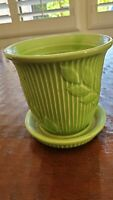 Vintage Shawnee Green Embossed  Planter/Flower Pot with Saucer * perfect!