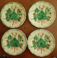 4 Bordallo Pinheiro Majolica Raised Grape Leaves 7 3/4