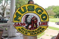 Large Musgo Gasoline Gas Station Oil 2 Sided 30