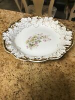 Antique C.T. Germany Carl Tielsch Hand Painted Floral and Leaf Pierced Bowl