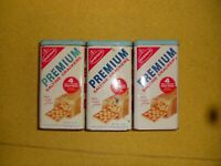 3 each VINTAGE NABISCO PREMIUM SALTINE CRACKERS KITCHEN TIN CANISTER SPANISH