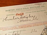 Coca Cola 1900s Sumter South Carolina Bottling Co Invoice To Marion SC Paper