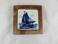 ANTIQUE FRAMED DELFT TILE WITH SHIP MADE IN HOLLAND