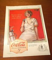 Coca Cola 1923 The Ladies Home Journal Golfer Girl Full Color Full Page Ad
