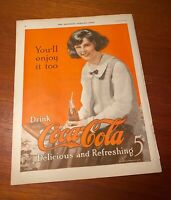 Coca Cola 1923 The Saturday Evening Post Girl W Bottle Full Color Full Page Ad