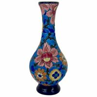 Vintage French Faience Emaux de Longwy Blue Chinoiserie Bud Vase