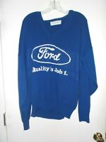 BLUE PARAGON SPORTSWEAR SWEATER ADVERTISING quot;FORDquot; QUALITY IS JOB 1 SIZE L
