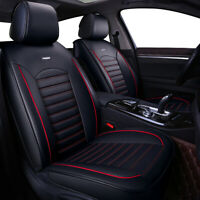 5 Seat Universal Car Seat Covers Deluxe Leather Cushion Full Set Cover Black Red $64.98