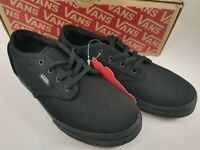 Kids new Vans Atwood Black Canvas Low Size 1 VN OSEG186
