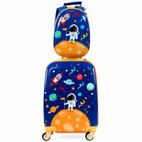 Costway 2 Pieces Kids Luggage Set 18quot; Rolling Suitcase amp; 12quot; Backpack Travel ABS