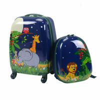 2Pc 12quot; 16quot; Kids Luggage Set Suitcase Backpack School Travel Trolley Case ABS
