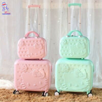 New women Hello Kitty Roller Trolley Luggage Toiletry cosmetic box case bag set
