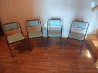 Set Of 4 Vintage Samsonite Folding Chairs for Card Table Metal Padded