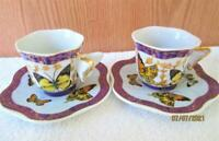 2 VINTAGE SETS FORMALITIES BAUM BROS BUTTERFLY TEA CUPS amp; SAUCER WITH GOLD TRIM
