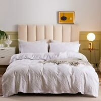 Simple White Duvet Cover Set Luxury Wavy Square Shaped Solid Bedding Bed Covers