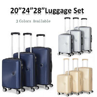 3PCS ABS Luggage sets Hardside Spinner Lightweight Durable Spinner Suitcase