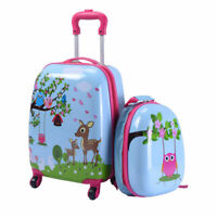 2 PCS 12quot; 16quot; Kids Luggage Set Suitcase Backpack School Travel Trolley ABS New