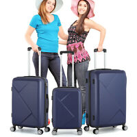 20 24 28quot; 3pcs Luggage Travel Set Bag ABS Trolley Hard Shell Suitcase Blue