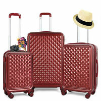 3 Sets ABS Luggage Hardside Spinner Lightweight Durable Spinner Suitcase Red