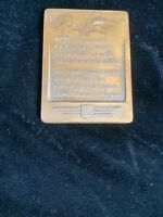 Vintage Tennyson 1940 Brass Paperweight United Airlines Plaque. Patterson Pres